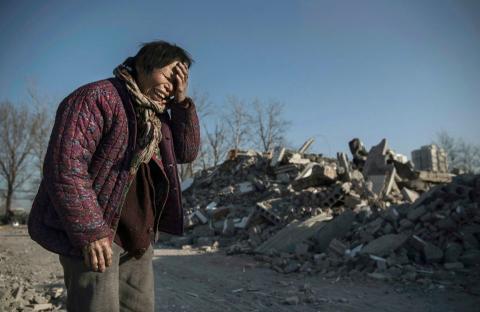 Uno de los edificios demolidos por las autoridades chinas.
