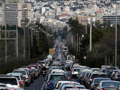 Imagen de atasco en Atenas (Grecia)