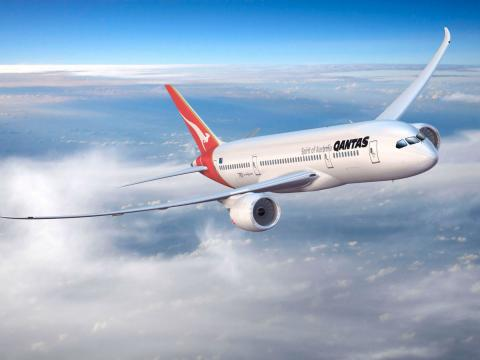 Una recreación virtual de un Qantas Boeing 787 Dreamliner.