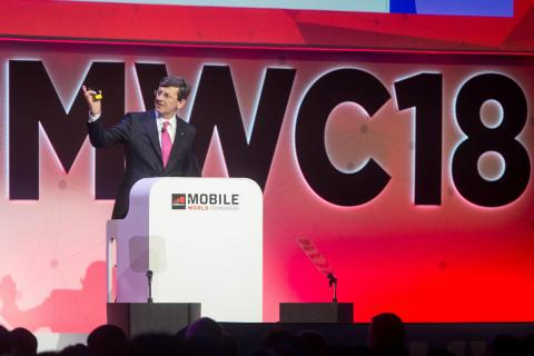 El consejero delegado del grupo Vodafone, Vittorio Colao, en el MWC de Barcelona.