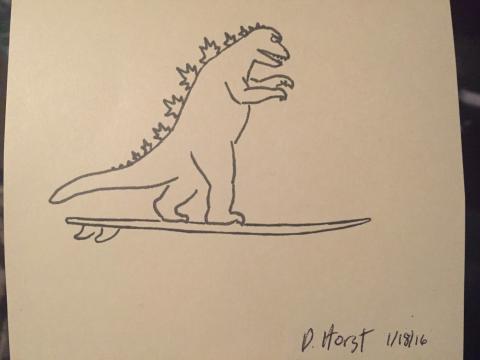 Dibujo de Godzilla hecho a mano