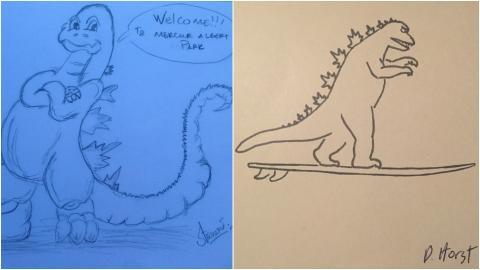 Dibujos de Godzilla que un viajero consiguio en hoteles