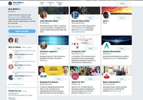 Estos son las primeras cuentas que sigue Ana Botín en Twitter.