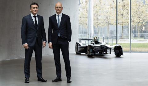 Alejandro Agag, CEO de la Formula E y Mark Langer, CEO de Hugo Boss