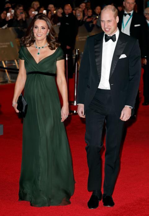 Guillermo y Kate de Cambridge a su llegada a los premios Bafta 2018