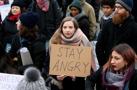 Una imagen de la marcha de las mujeres en Berlín que se celebró el 21 de enero de 2018 en la que las manifestantes pedían igualdad.