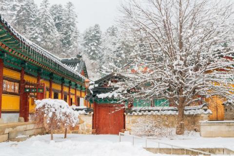 Templos y pagodas en la zona de los Juegos Olímpicos de Invierno 2018