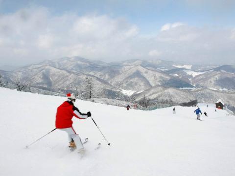 Una de las pistas de esquí en el complejo olímpico de Pyeongchang