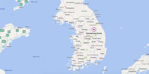 Mapa de la península de Corea con las localizaciones de los eventos deportivos de los JJ. OO.