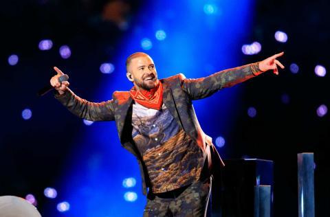Justin Timberlake en el intermedio de la LII Super Bowl.