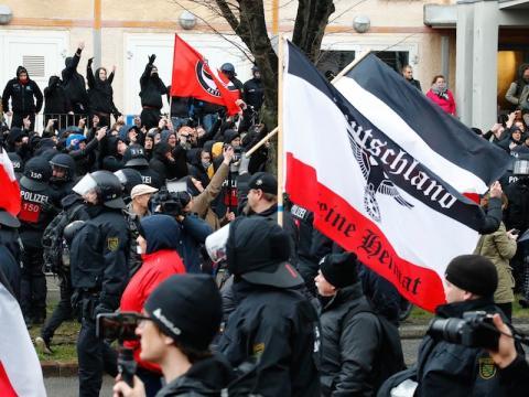 Manifestación neonazi en Leipzig.