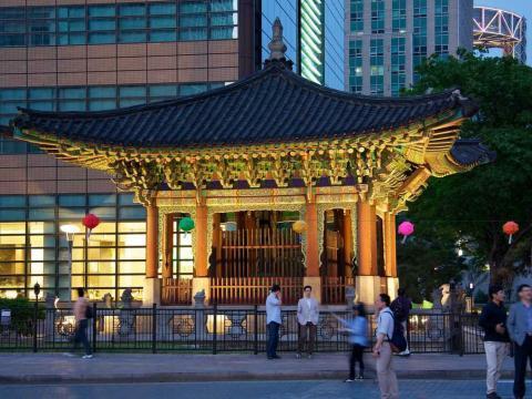 Un templo en la ciudad de Seúl (Corea del Sur).