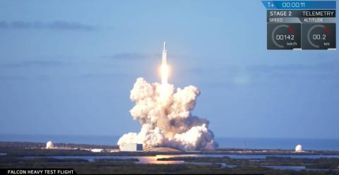 Un momento del despegue del Heavy Falcon en EE. UU.