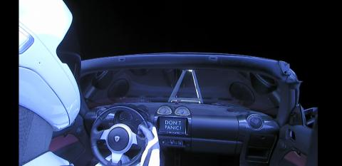 Starman en el Roadster a bordo del Heavy Falcon de Space X