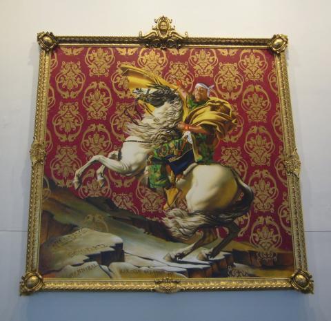 La versión de 'Napoleón dirigiendo el ejército sobre los Alpes' realizada por Kehinde Wiley.