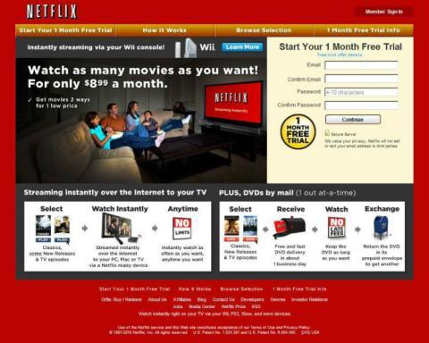 Este era el aspecto de Netflix en 2010.