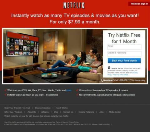 Este era el aspecto de Netflix en 2012.