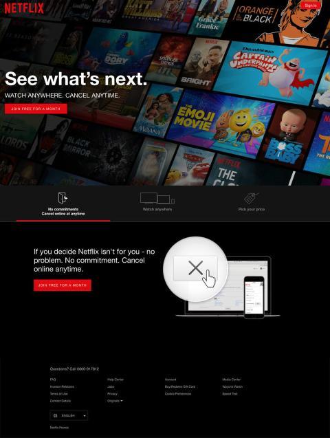 Este era el aspecto de Netflix en la actualidad.