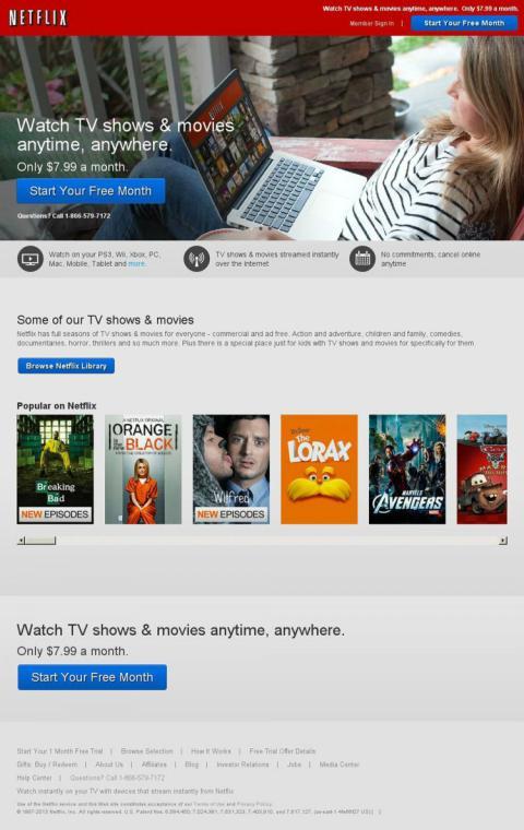 Énfasis en la home de Netflix en los estrenos.
