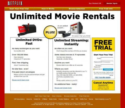 Este era el streaming de Netflix en 2008.