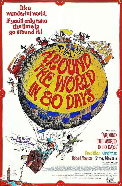 Cartel promocional de la película La vuelta al mundo en 80 días