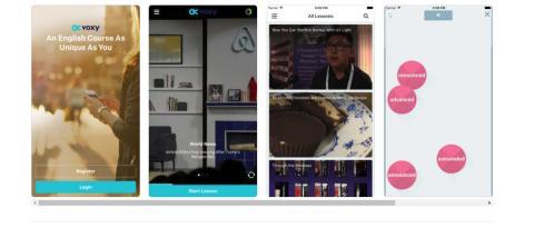 Presentación de lecciones de la app de idiomas Voxy