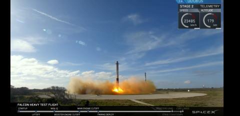 Prueba de lanzamiento del Falcon Heavy.