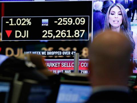 El Dow Jones en la Bolsa de Nueva York (EE. UU.) el pasado lunes.