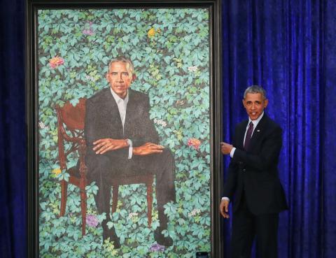 La presentación del retrato de Obama realizado por el artista Kehinde Wiley.
