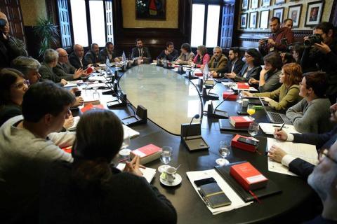Reunión de la junta de portavoces del parlamento de Cataluña en febrero de 2018