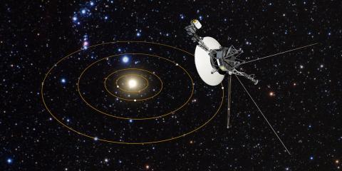 Ilustración de una sonda Voyager abandonando el sistema solar.