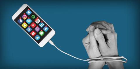 Ilustración sobre la adicción a la tecnología.