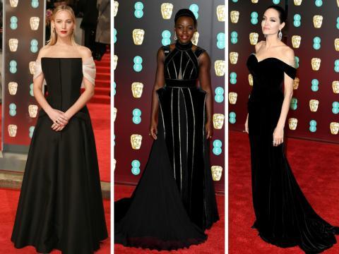 Vestidas de negro, las actrices Jennifer Lawrence, Lupita Nyong'o y Angelina Jolie en la alfombra roja de los Bafta 2018