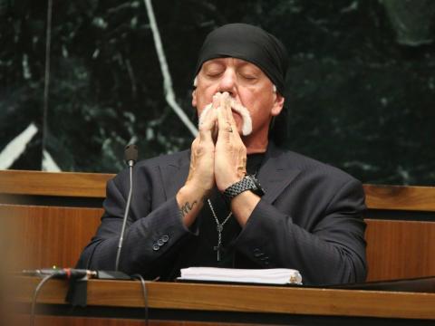 Hulk Hogan, cuyo nombre real es Terry Bollea, durante el juicio contra Gawker Media en marzo de 2016.