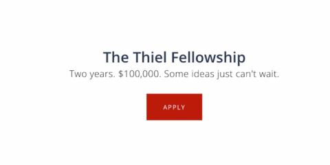 Captura de pantalla de la iniciativa de Peter Thiel, The Thiel Fellowship.