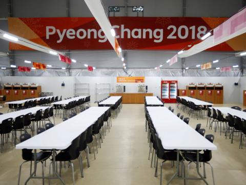 Comedor y cocina de la Villa Olímpica para los Juegos de Invierno de Corea del Sur