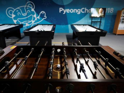 Sala de juegos en la Villa Olímpica de Pyeonchang 2018