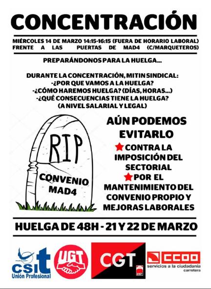 Cartel informativo de la huelga