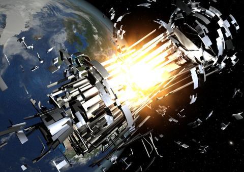 explosión, cohete, espacio