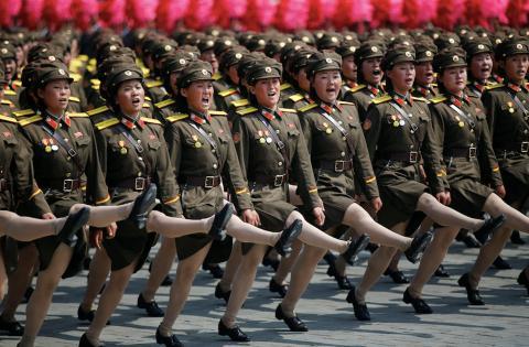 Demostraciones militares en Corea del Norte.