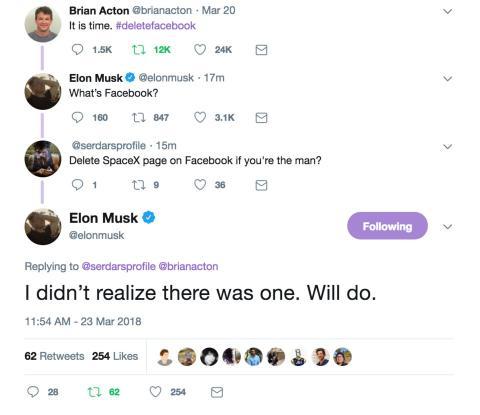 Elon Musk borrando páginas de Facebook