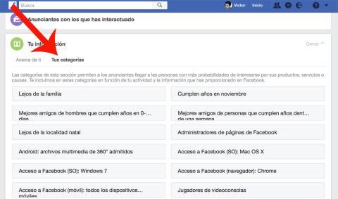 Facebook Categorias