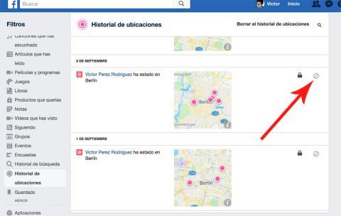 Historial Ubicaciones Facebook