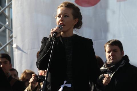 Ksenia Sobchak, durante una protesta en Moscú contra Putin en una imagen de archivo.