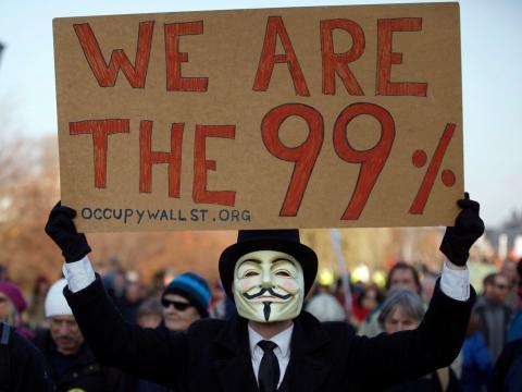 Pancarta contra los bancos durante el movimiento Occupy Wall Street
