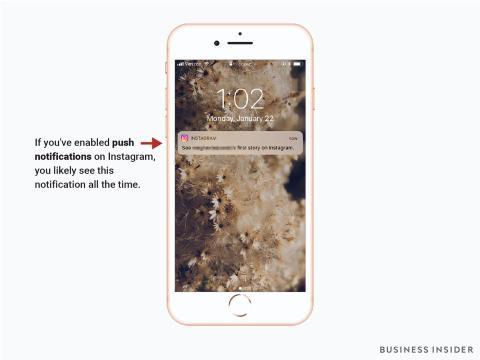 El sistema de notificaciones 'push' de Instagram envía mensajes al móvil constantemente.
