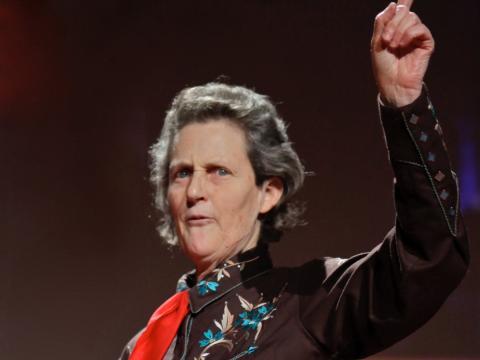 Temple Grandin durante una charla en un TED en 2010.