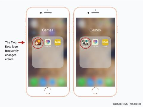 Pantallazo que muestra el cambio de color del icono de Two Dots como mecanismo para captar la atención de los usuarios.