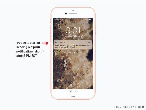 Pantallazo que muestra las notificaciones 'push' de Two Dots.
