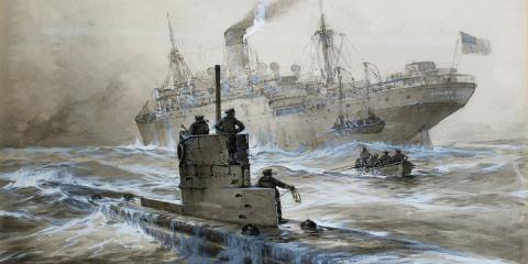 Una representación artística de un ataque submarino en 1915.